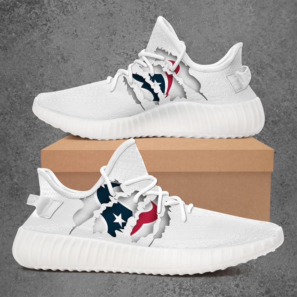 Houston Texans Nfl Sport Teams Yeezy Sneakers Shoes White