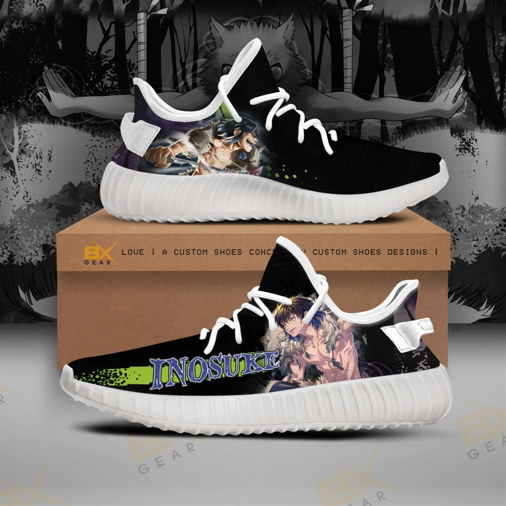 Inosuke Shoes Muscle Yeezy Sneakers Demon Slayer Anime Yeezy Sneakers Shoes White