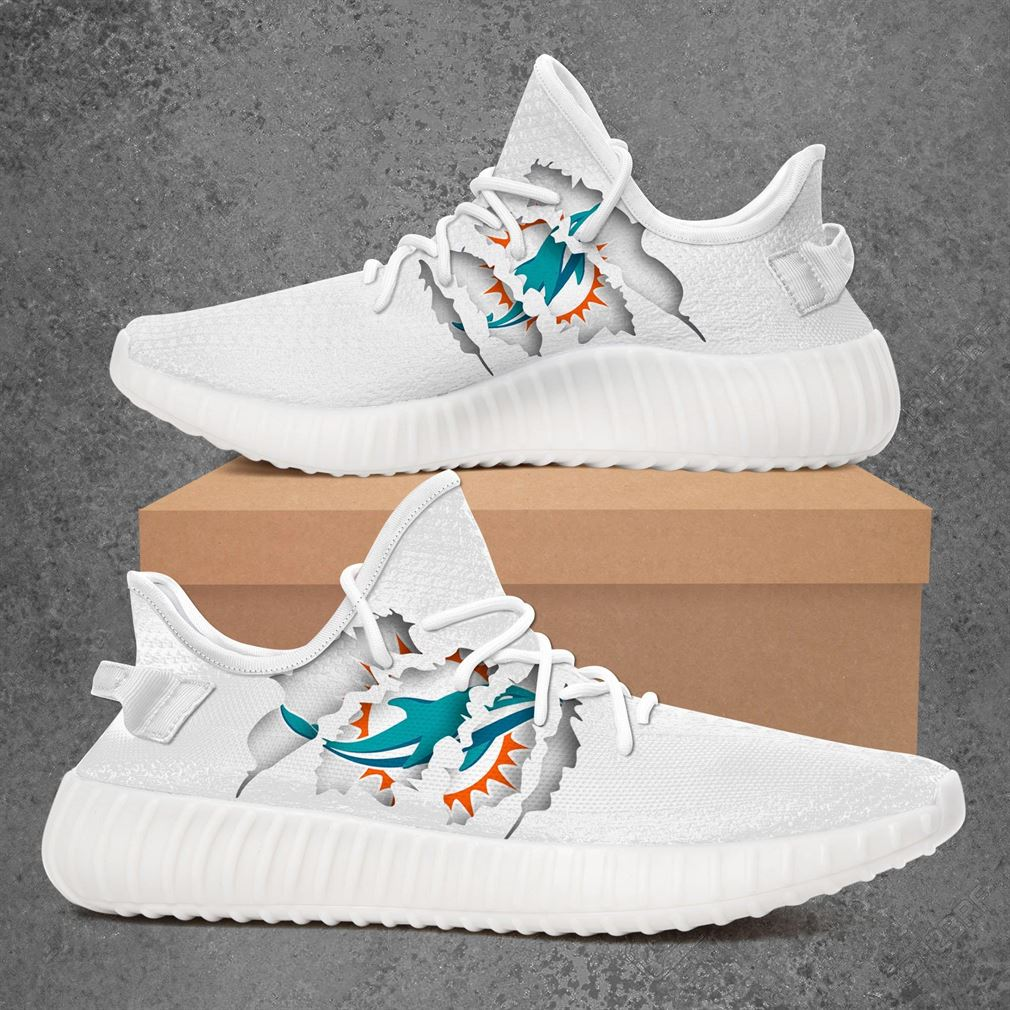Miami Dolphins Nfl Sport Teams Yeezy Sneakers Shoes White