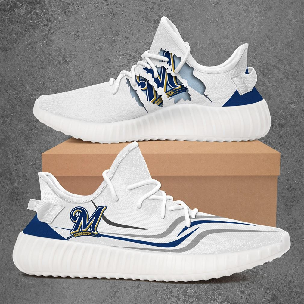 Milwaukee Brewers Mlb Sport Teams Yeezy Sneakers Shoes White