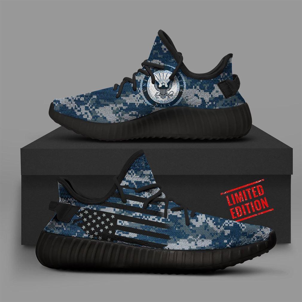 Navy Camo Yeezy Sneakers Shoes