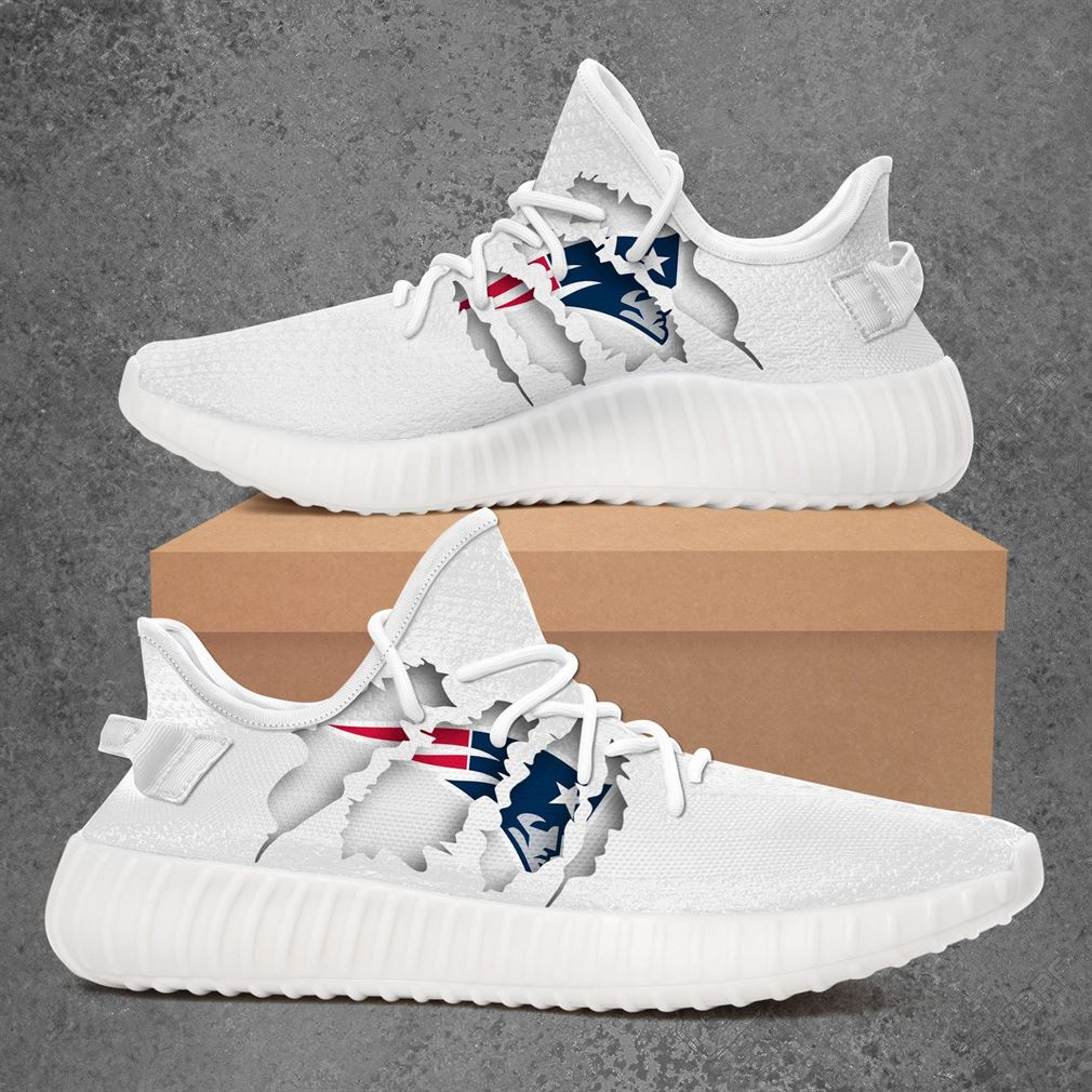 New England Patriots Nfl Sport Teams Yeezy Sneakers Shoes White