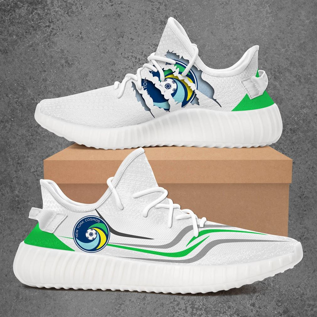 New York Cosmos 2 Us Open Cup Sport Teams Yeezy Sneakers Shoes White