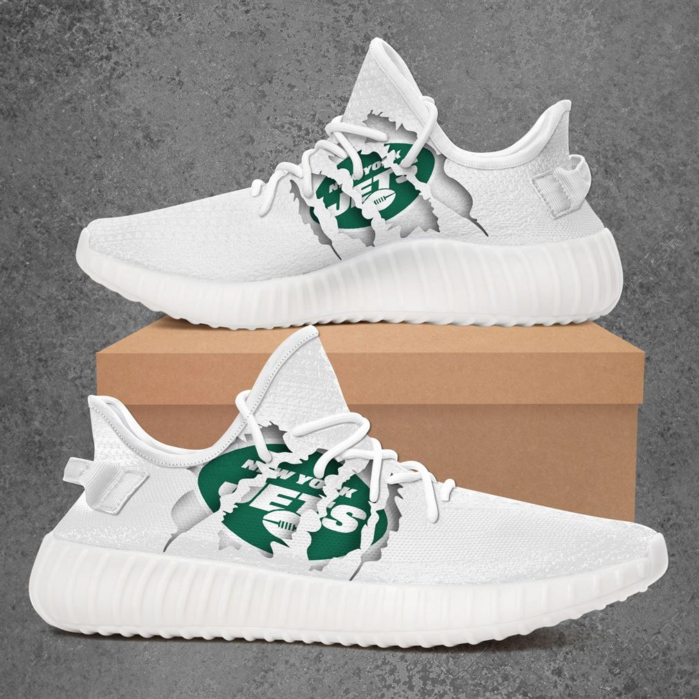 New York Jets Nfl Sport Teams Yeezy Sneakers Shoes White