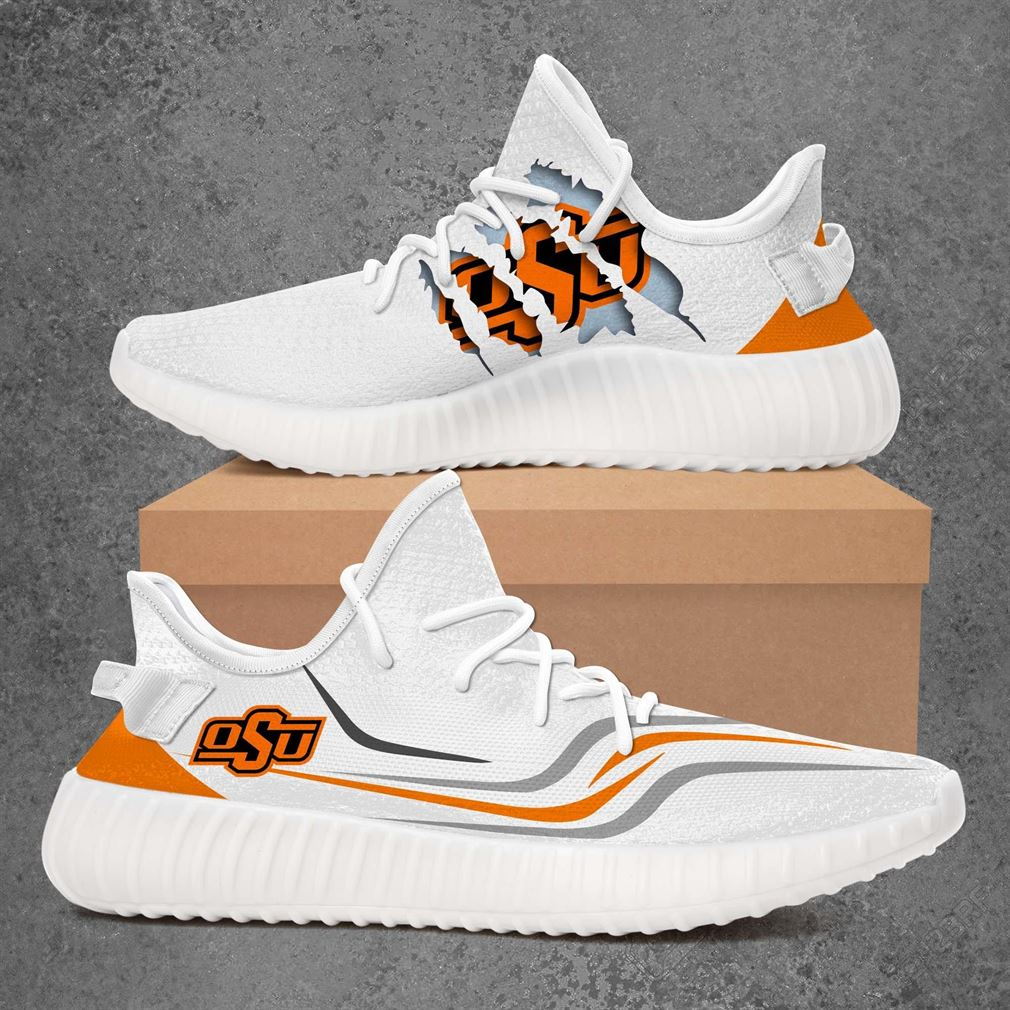 Oklahoma State Cowboys Ncaa Sport Teams Yeezy Sneakers Shoes White