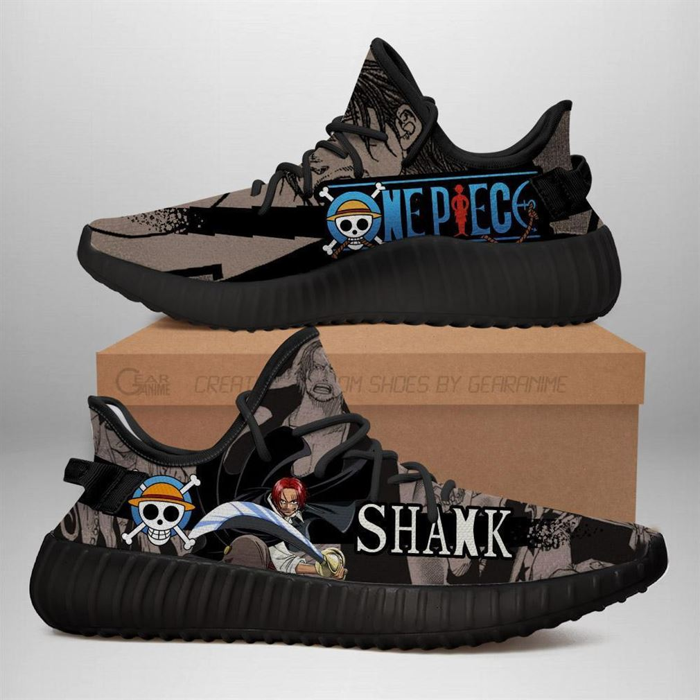 Red Hair Shank Yz Sneakers One Piece Anime Shoes Yeezy Sneakers Shoes Black
