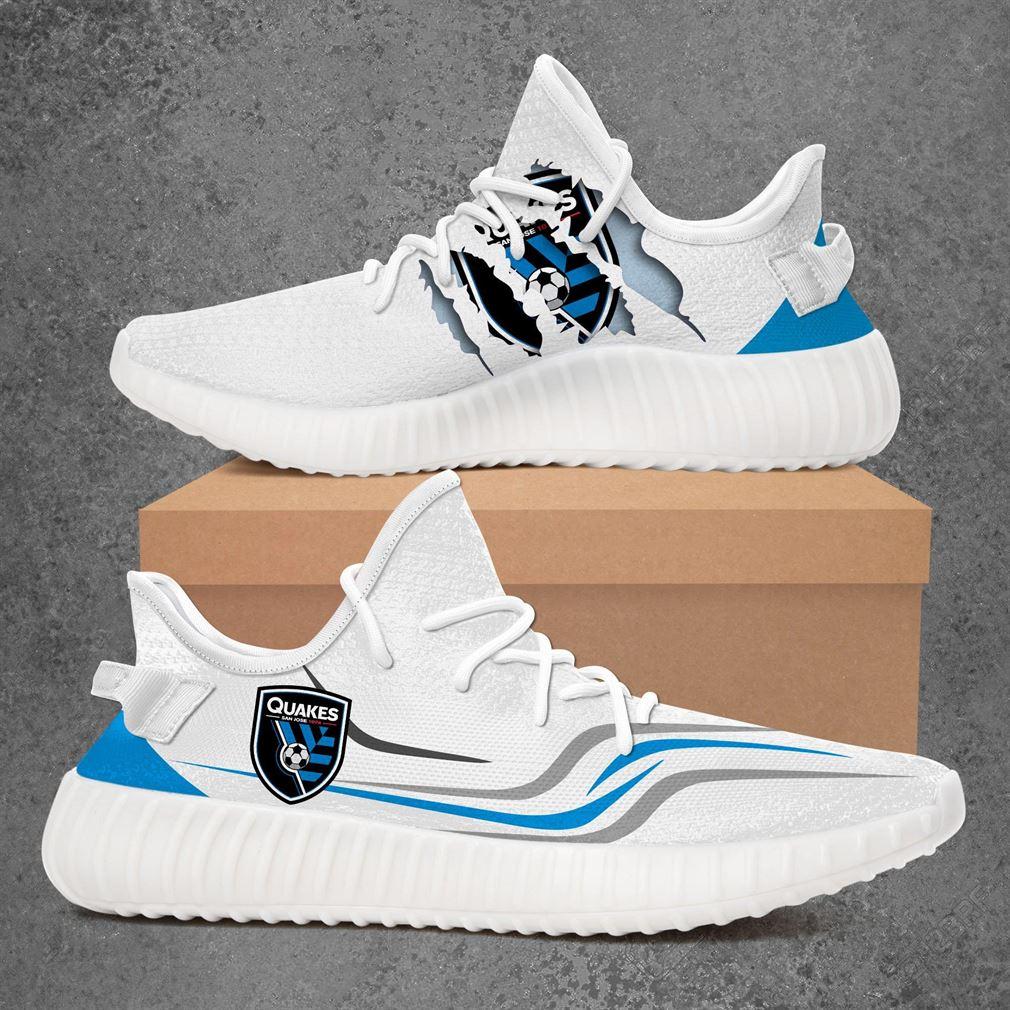 San Jose Earthquakes Mls Sport Teams Yeezy Sneakers Shoes White