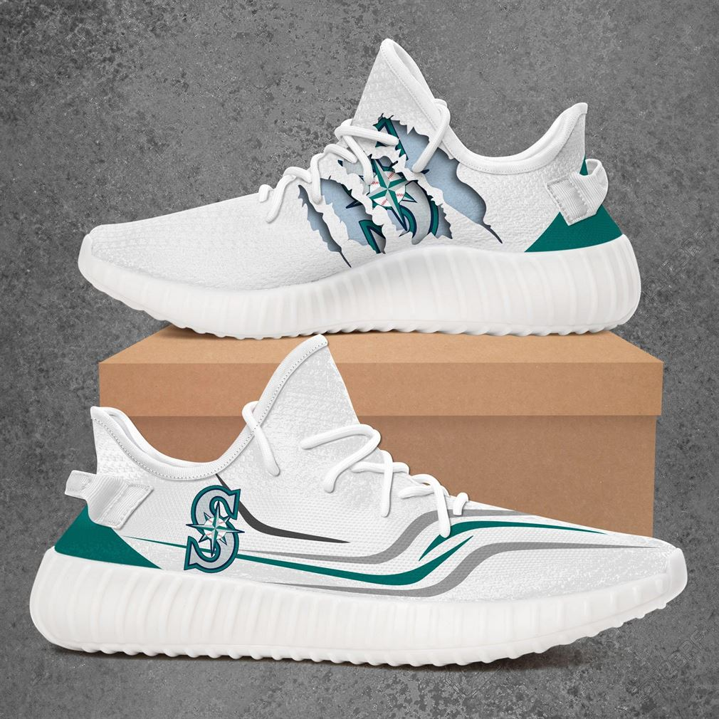 Seattle Mariners Mlb Sport Teams Yeezy Sneakers Shoes White
