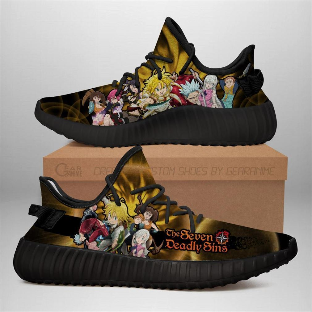 Seven Deadly Sins Yz Sneakers Anime Shoes Yeezy Sneakers Shoes Black
