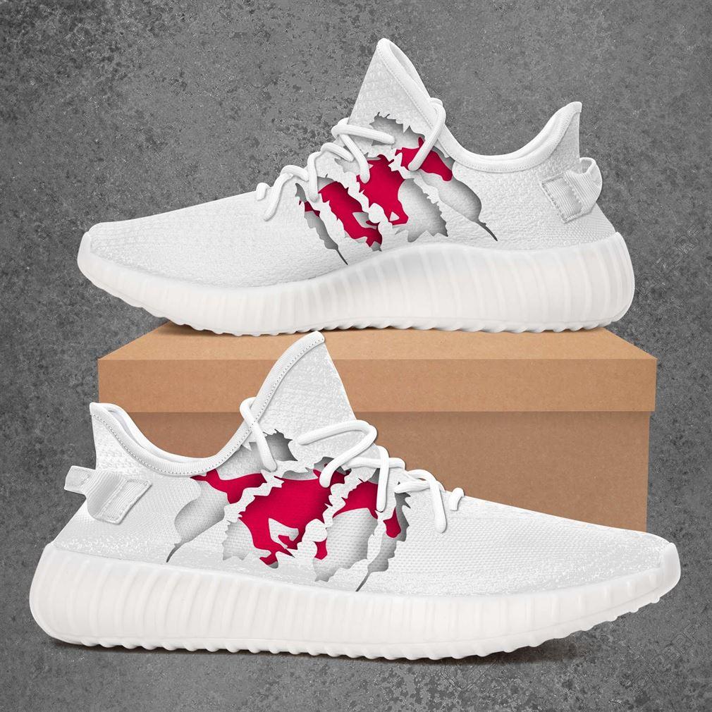 Smu Mustangs Ncaa Sport Teams Yeezy Sneakers Shoes White