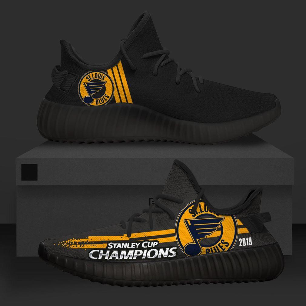 St Louis Blues Black Nhl Teams Yeezy Sneakers Shoes