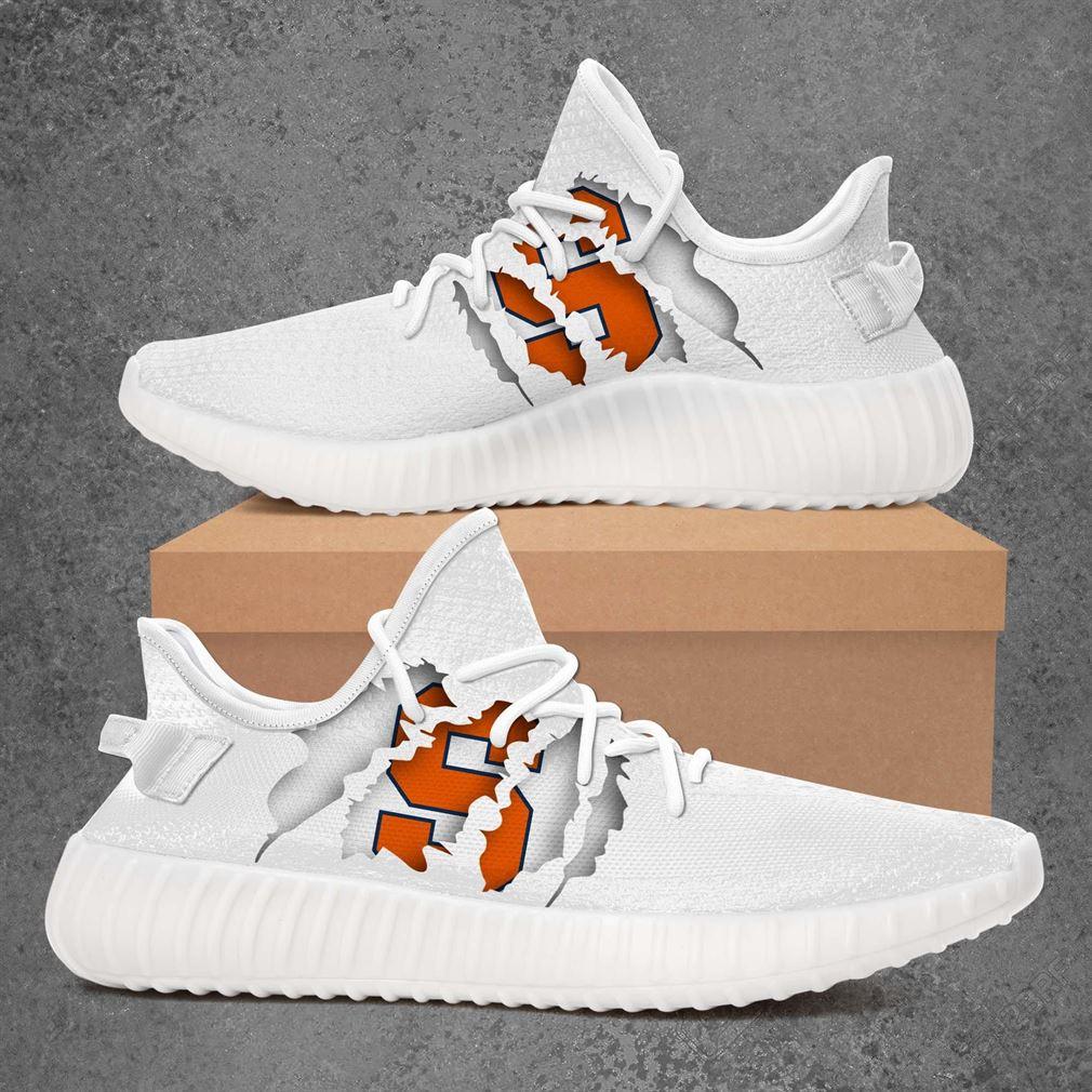 Syracuse Orange Ncaa Sport Teams Yeezy Sneakers Shoes White