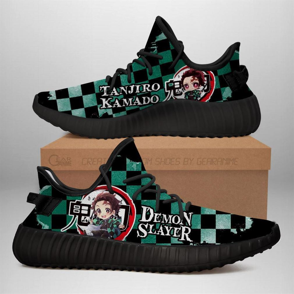 Tanjiro Yz Sneakers Demon Slayer Shoes Anime Yeezy Sneakers Shoes Black
