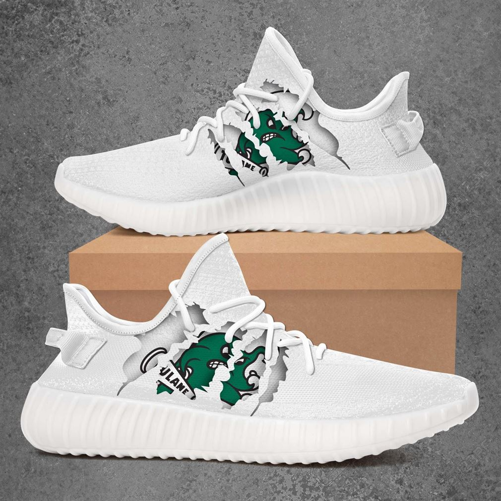 Tulane Green Wave Ncaa Sport Teams Yeezy Sneakers Shoes White