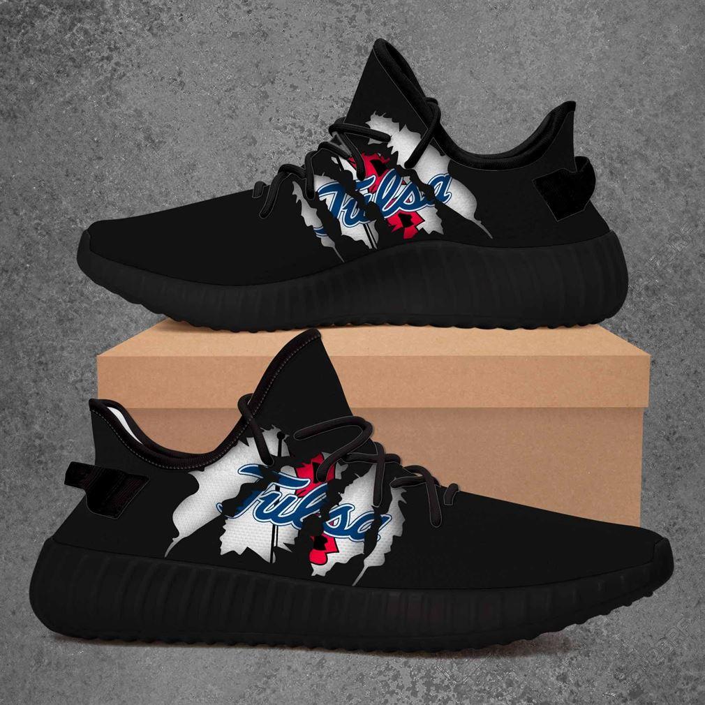 Tulsa Golden Hurricane Ncaa Yeezy Sneakers Shoes Black