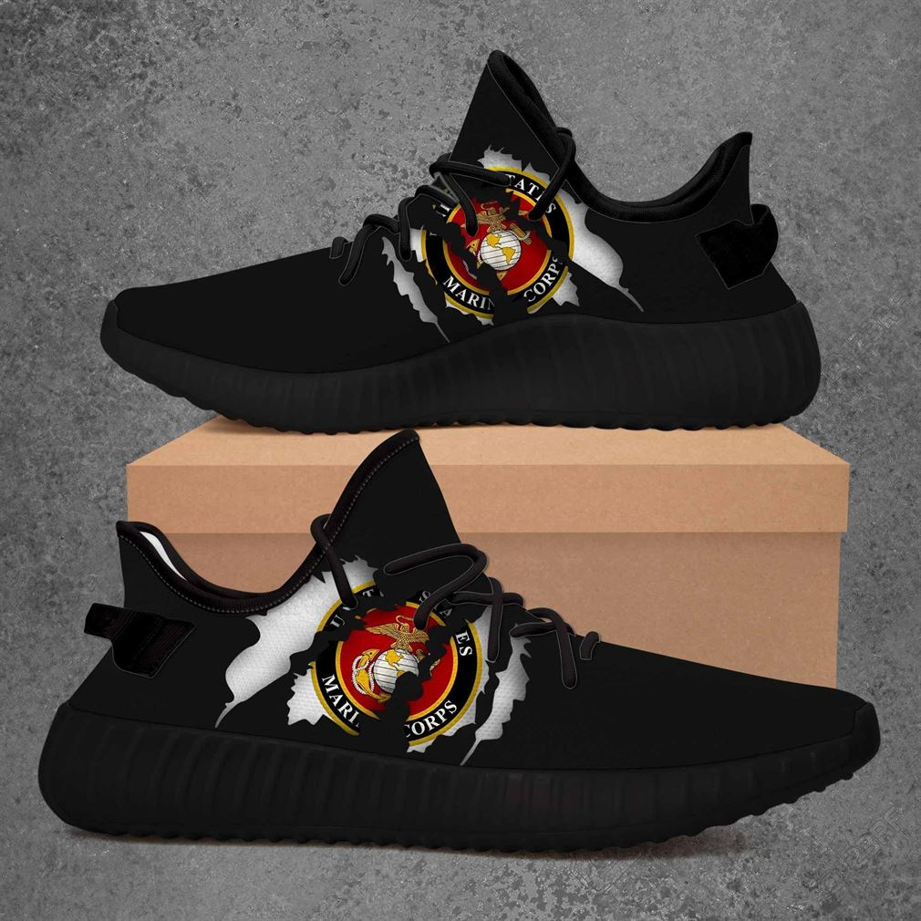 United States Marine Corps Ncaa Yeezy Sneakers Shoes Black
