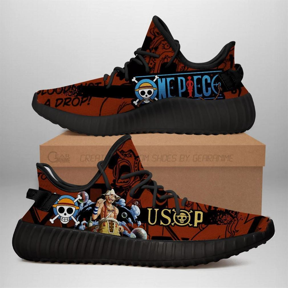 Usop Yz Sneakers One Piece Anime Shoes Yeezy Sneakers Shoes Black