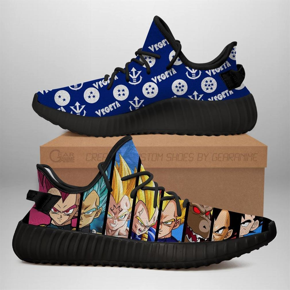 Vegeta Evolution Yz Sneakers Dragon Ball Shoes Anime Yeezy Sneakers Shoes Black