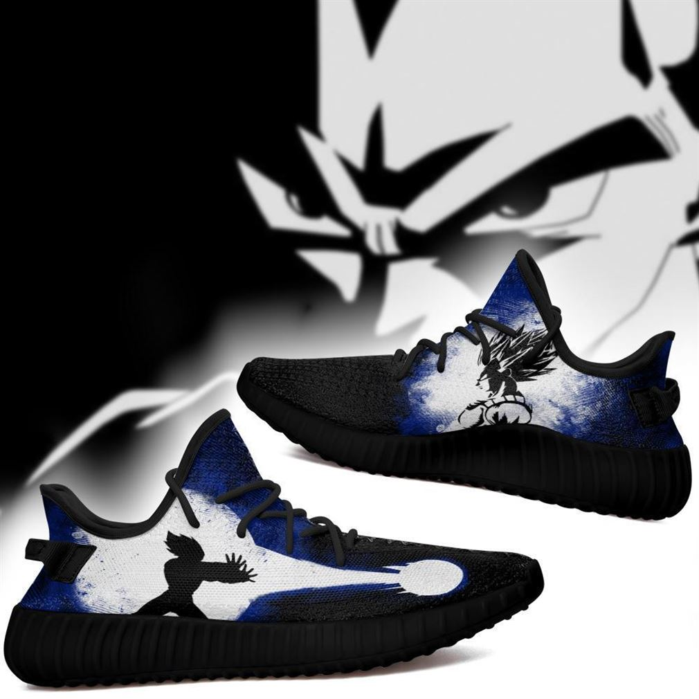 Vegeta Silhouette Yz Sneakers Skill Custom Dragon Ball Z Shoes Anime Yeezy Sneakers Shoes Black