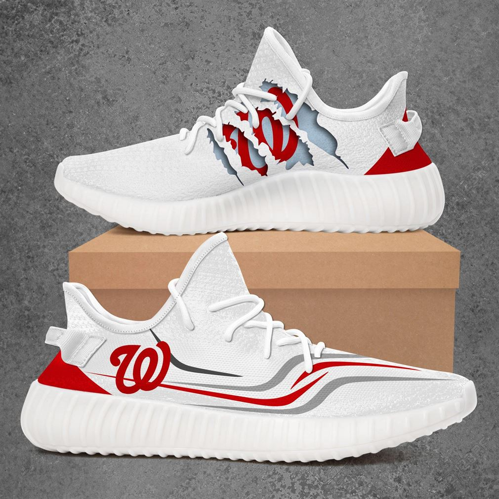 Washington Nationals Mlb Sport Teams Yeezy Sneakers Shoes White