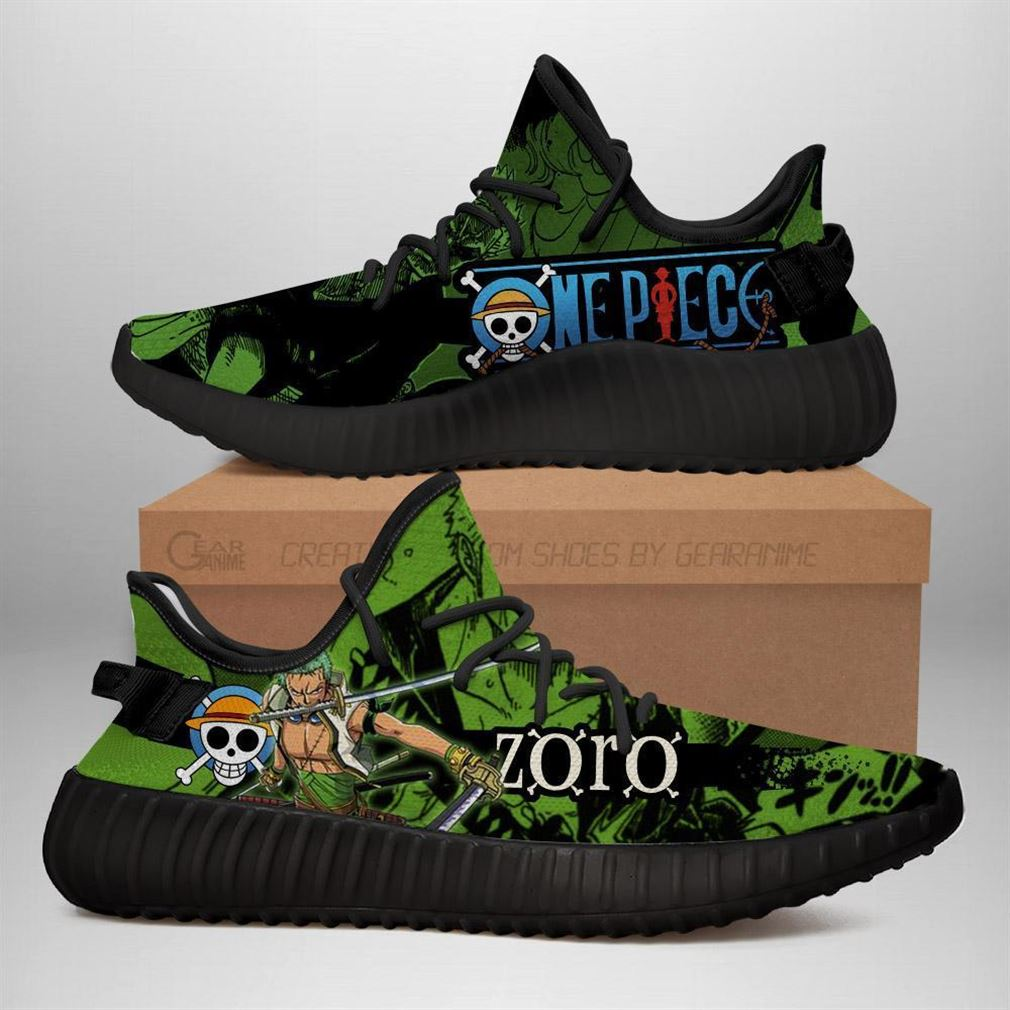 Zoro Yz Sneakers One Piece Anime Shoes Yeezy Sneakers Shoes Black