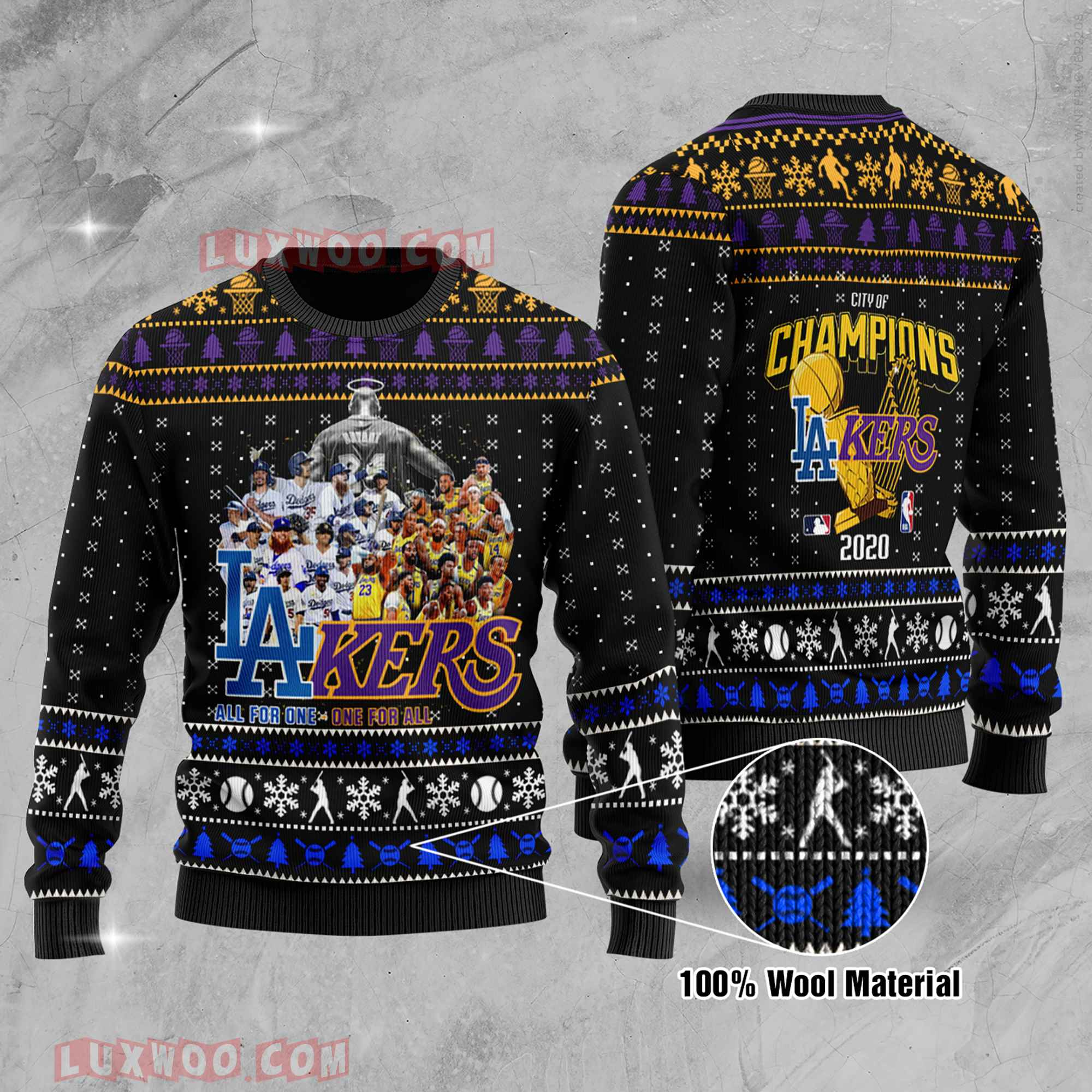 LA Dodgers And Lakers All Team City Of Champions 2020 World Series Ugly Christmas Sweater Wool Material
