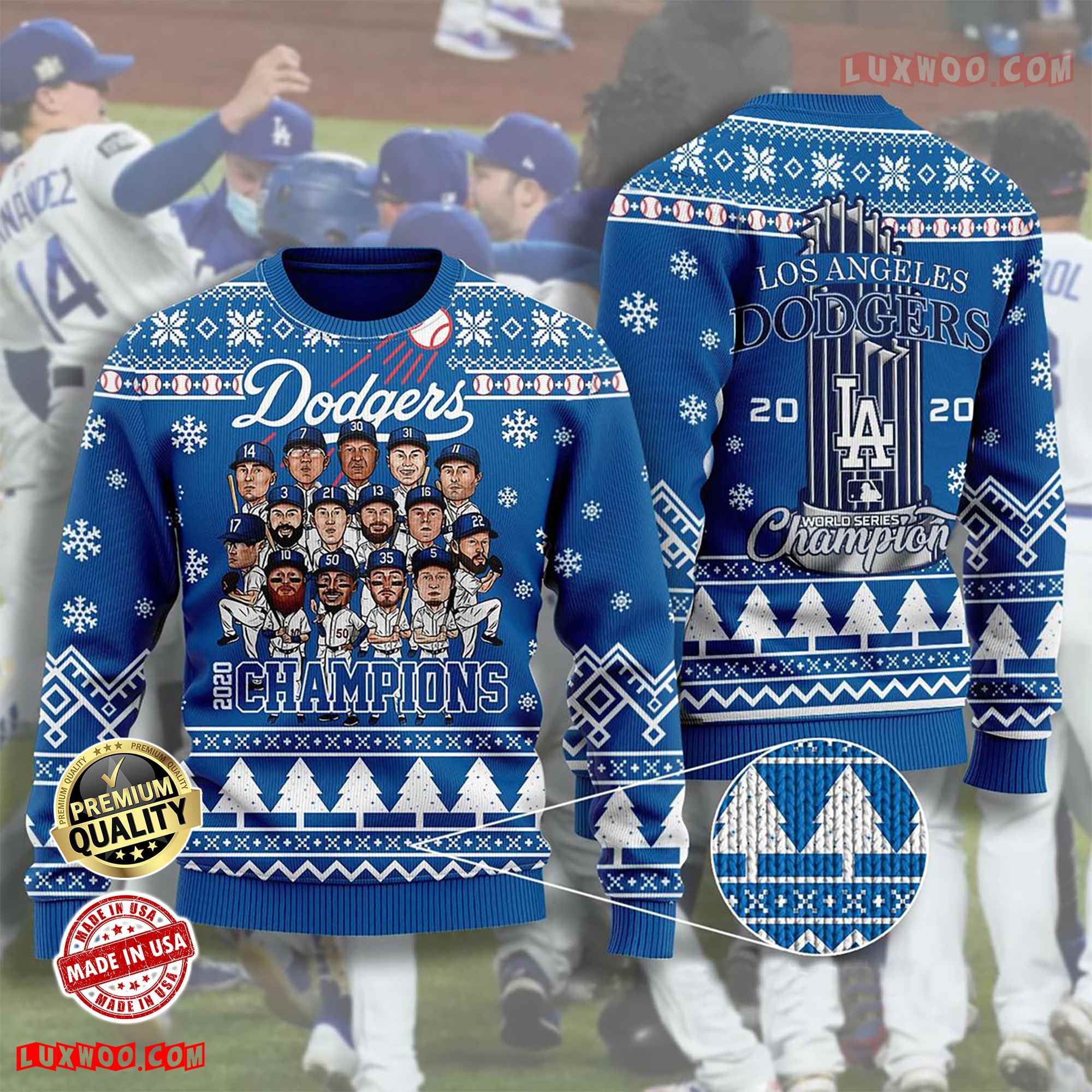 Los Angeles Dodgers Chibi Ugly Christmas Sweater World Champions Sweater Christmas Sweater Wool Material