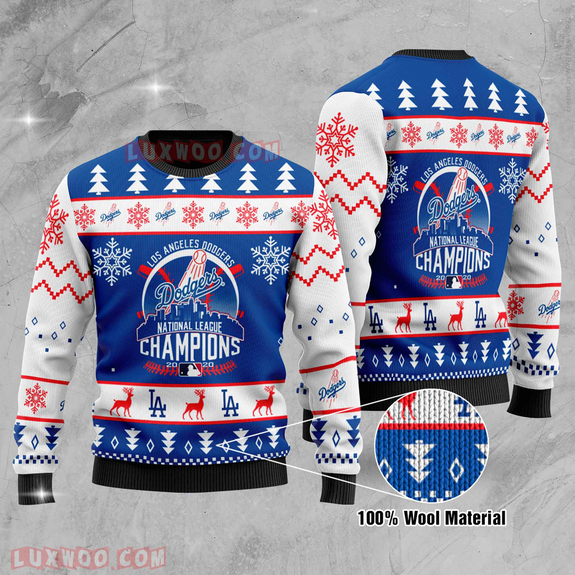 Los Angeles Dodgers National League Champions La Dodgers National League Champions Ugly Christmas Sweater Wool Material