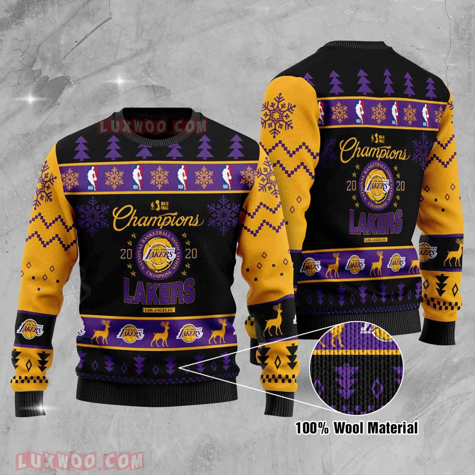 Los Angeles Lakers Nba Champions La Laker Nba Champion Ugly Christmas Sweater Wool Material