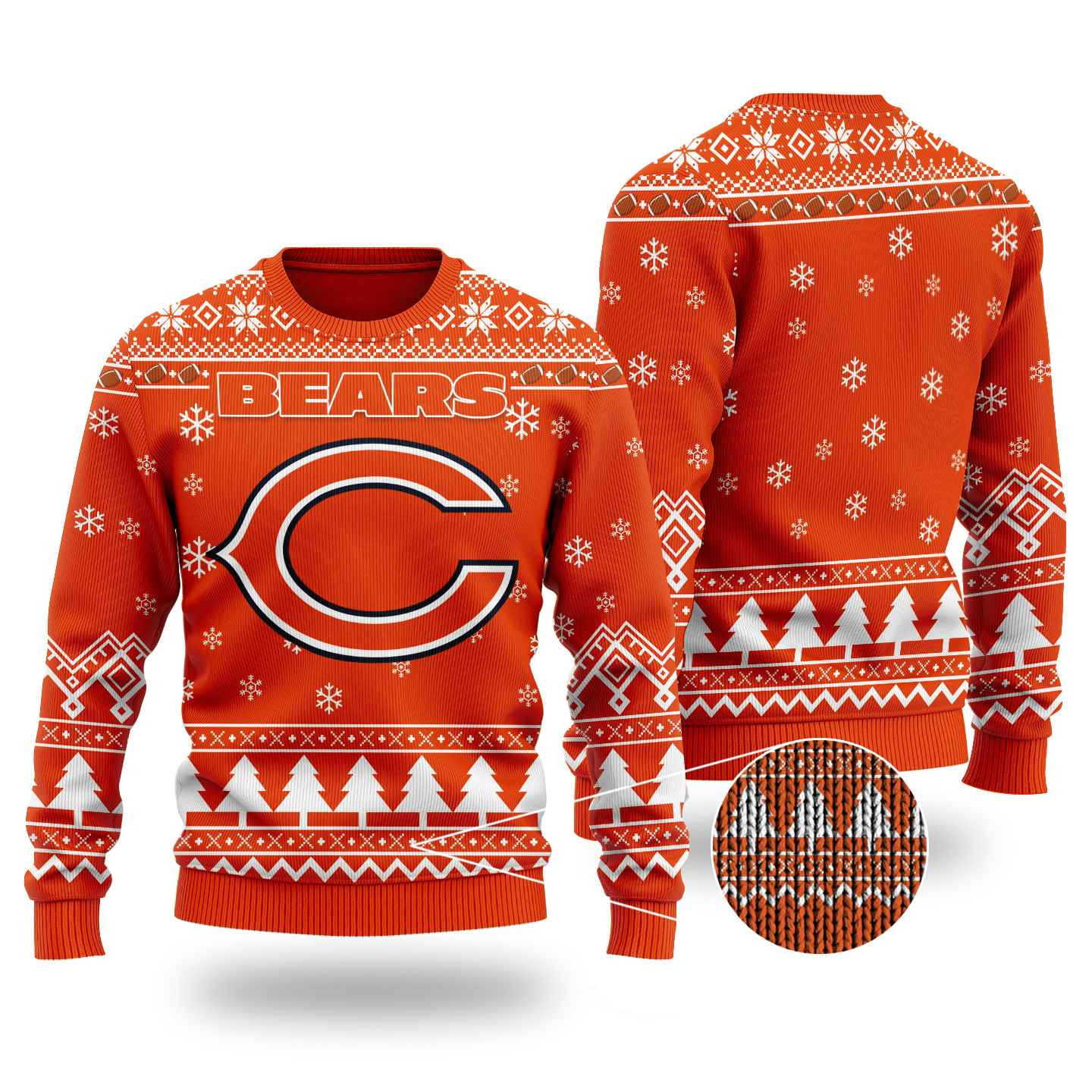 Nfl Chicago Bears Chibi Ugly Christmas Sweater Wool Material