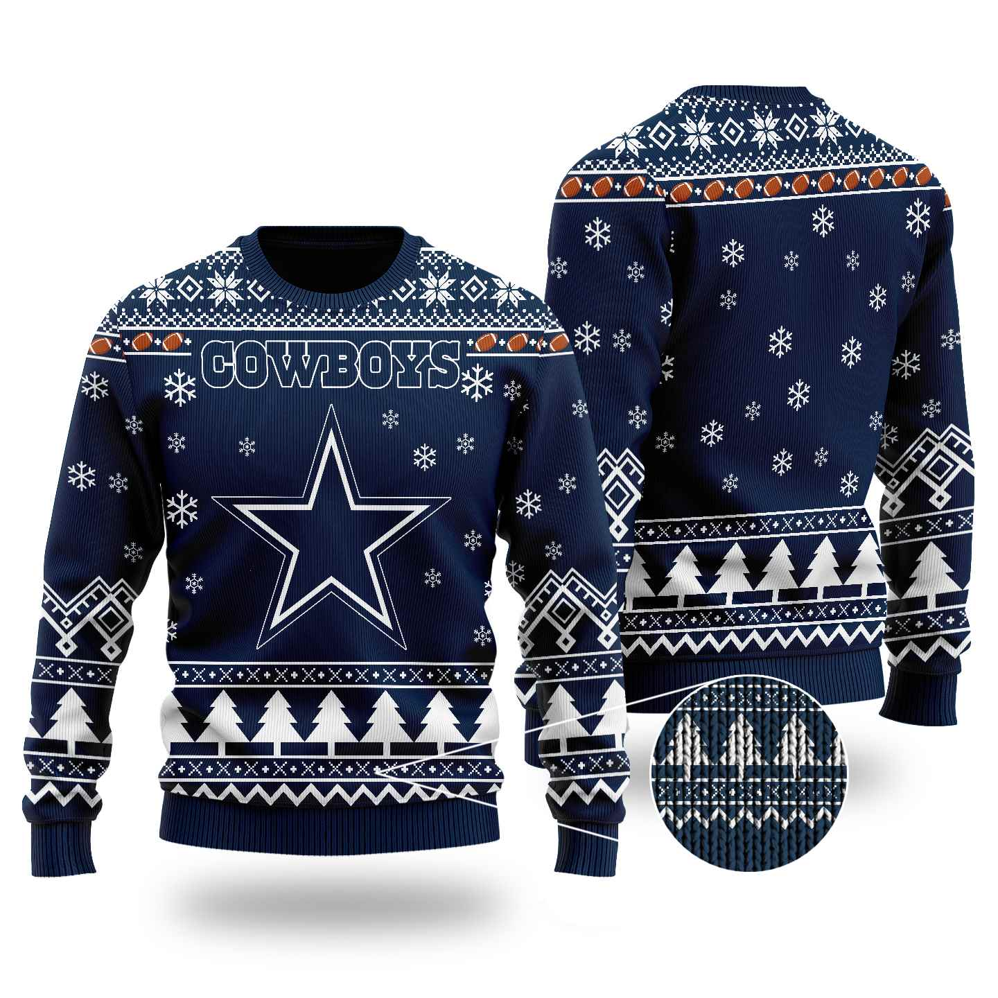 Nfl Dallas Cowboys Chibi Ugly Christmas Sweater Wool Material