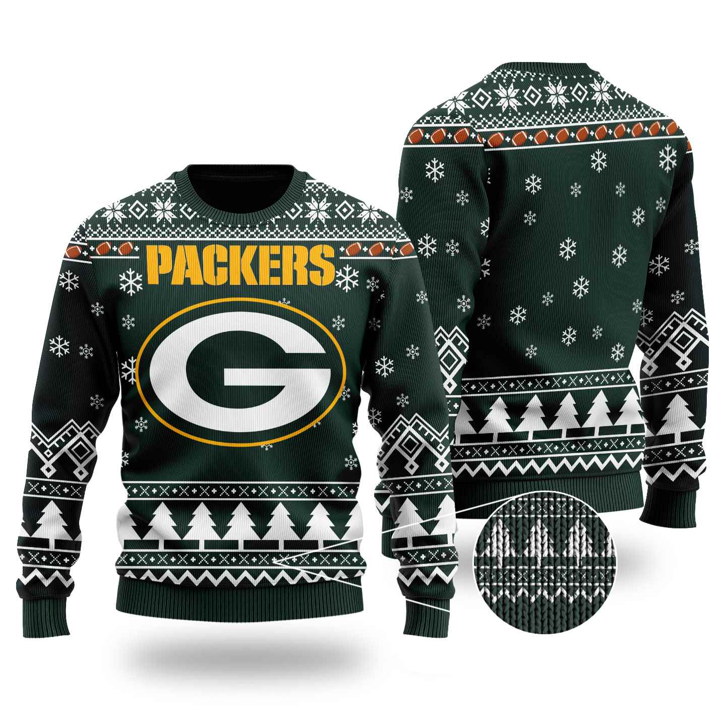 Nfl Green Bay Packers Chibi Ugly Christmas Sweater Wool Material