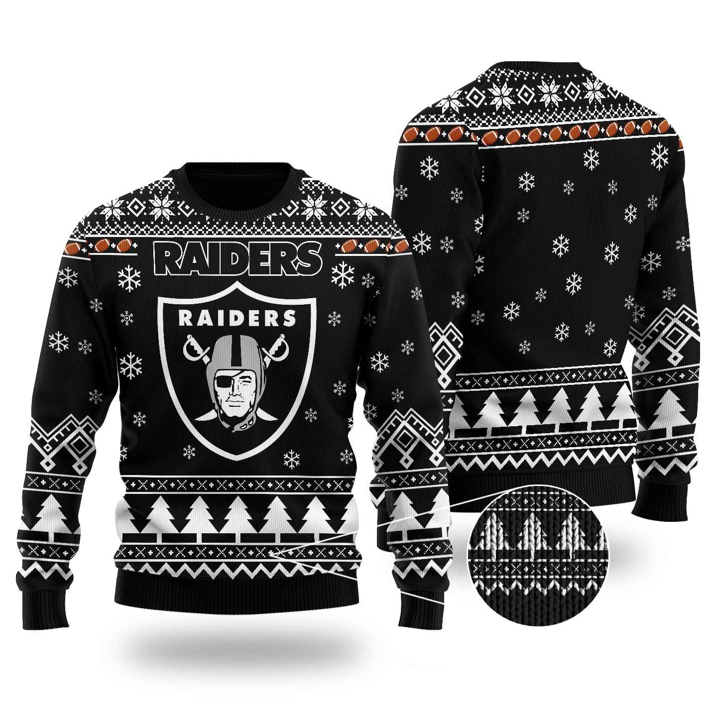 Nfl Oakland Raiders Chibi Ugly Christmas Sweater Wool Material