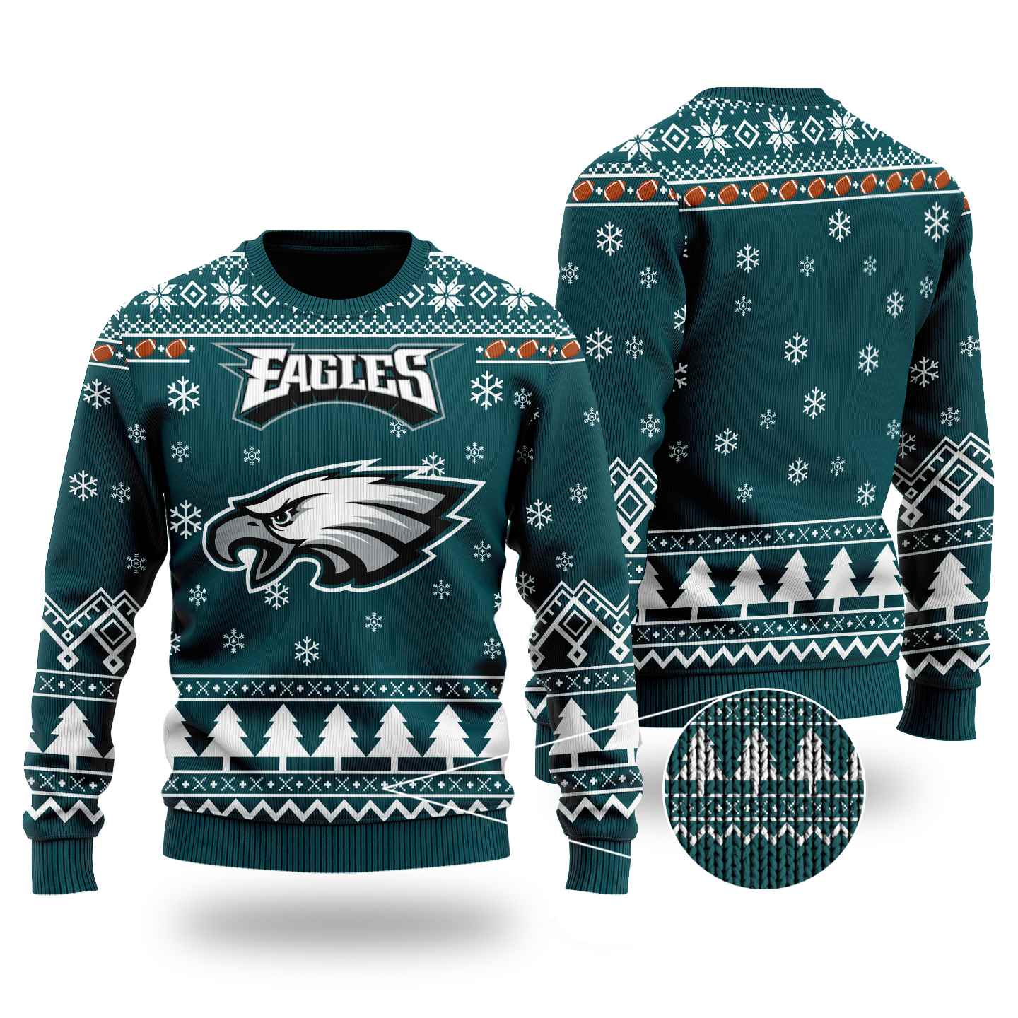 Nfl Philadelphia Eagles Chibi Ugly Christmas Sweater Wool Material