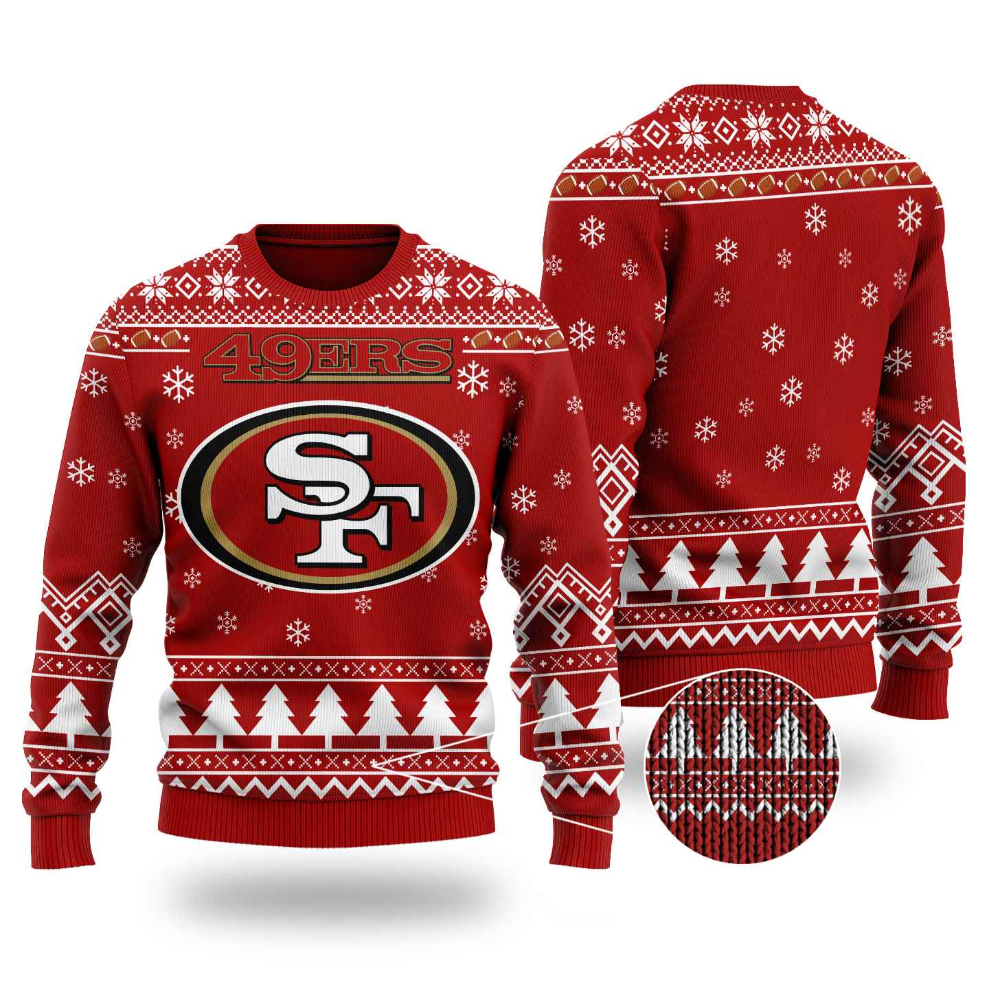 Nfl San Francisco 49ers Chibi Ugly Christmas Sweater Wool Material
