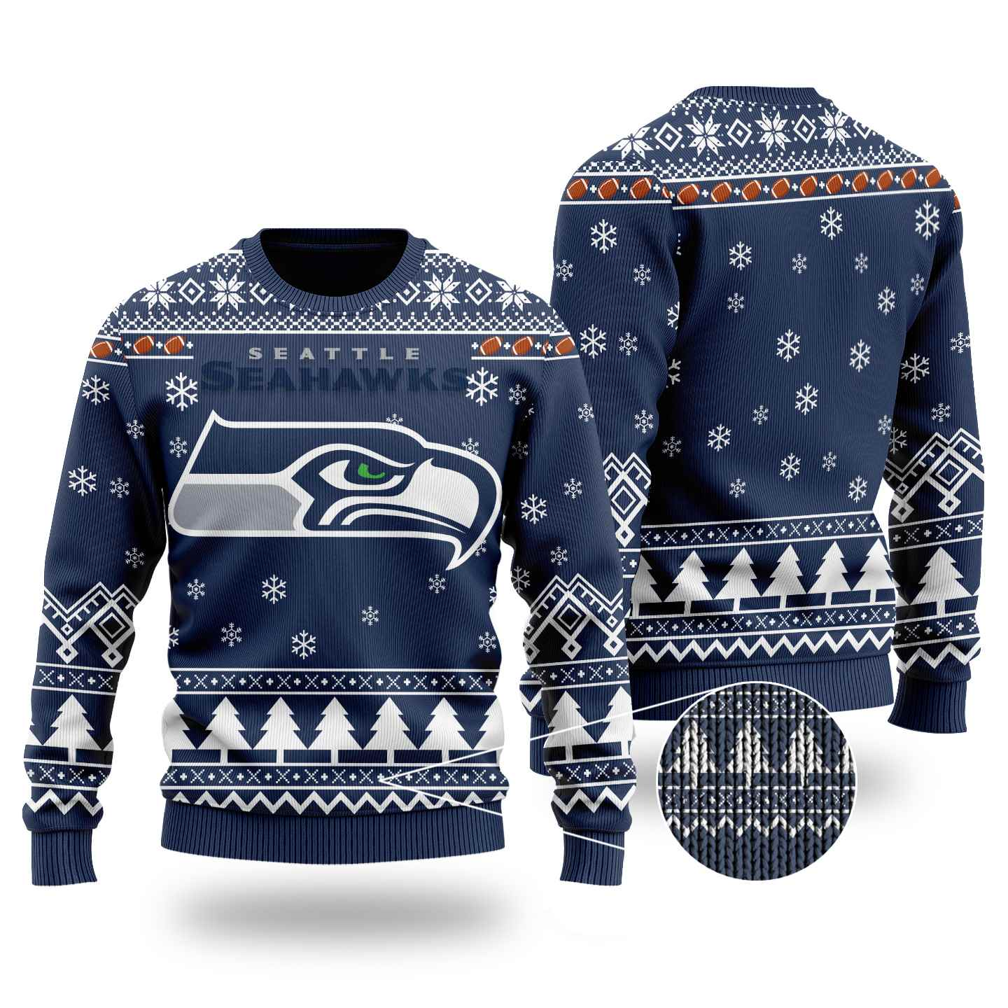 Nfl Seattle Seahawks Chibi Ugly Christmas Sweater Wool Material