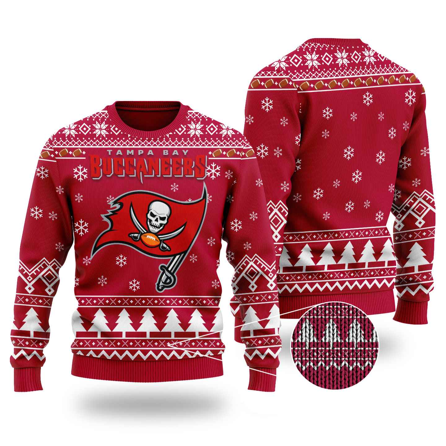 Nfl Tampa Bay Buccaneers Chibi Ugly Christmas Sweater Wool Material