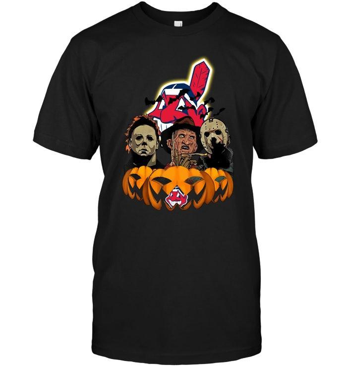 Mlb Cleveland Indians Halloween Michael Myers Freddy Krueger Jason Pumpkin Shirt Sweater