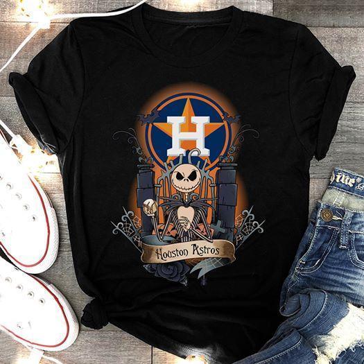 Mlb Houston Astros Jack Skellington Houston Astros Halloween Night Mlb Fan T Shirt