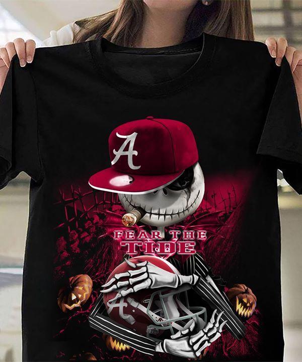 Ncaa Alabama Crimson Tide Jack Skellington Fear The Alabama Crimson Tide Halloween T Shirt