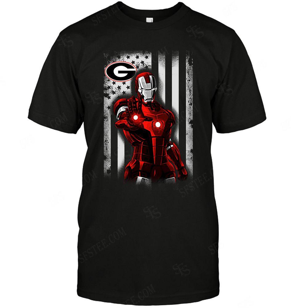 Ncaa Georgia Bulldogs Ironman Flag Dc Marvel Jersey Superhero Avenger Shirt