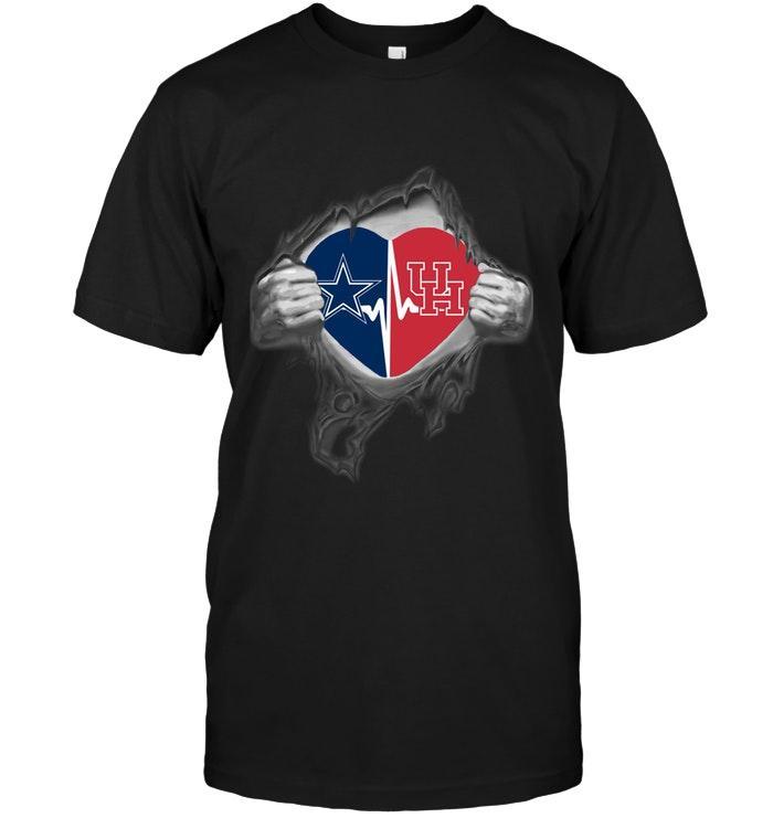 Ncaa Houston Cougars Dallas Cowboys Houston Cougars Love Heartbeat Ripped Shirt