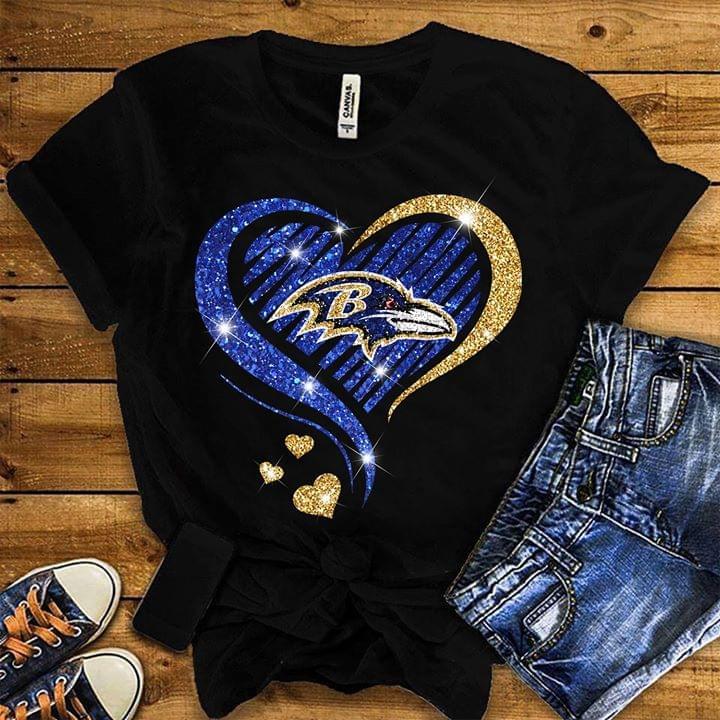 Nfl Baltimore Ravens Heart Glitter Pattern Tshirt Plus Size Up To 5xl