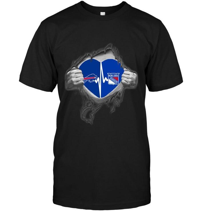 Nfl Buffalo Bills New York Rangers Love Heartbeat Ripped Shirt Sweater Plus Size Up To 5xl