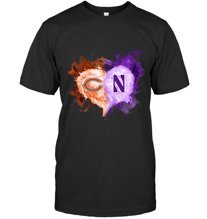 Nfl Chicago Bears And Northwestern Wildcats Flaming Heart Fan T Shirt Plus Size Up To 5xl