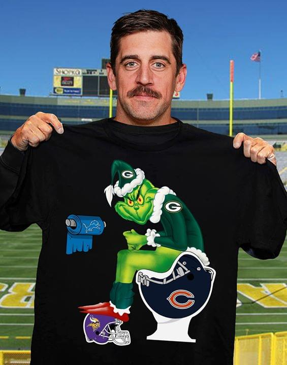 Nfl Chicago Bears Green Bay Packers Grinch Chicago Bears Toilet Minnesota Vikings Helmet Shirt Size Up To 5xl