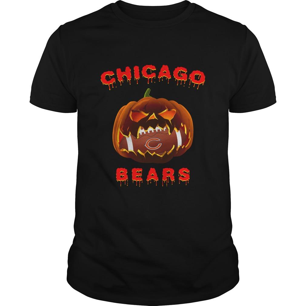 Nfl Chicago Bears Halloween Pumpkin Chicago Bears Nfl Tshirt Plus Size Up To 5xl