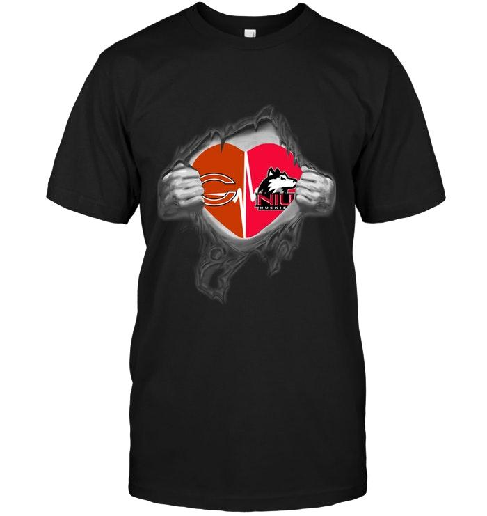 Nfl Chicago Bears Northern Illinois Huskies Love Heartbeat Ripped Shirt Tshirt Size Up To 5xl