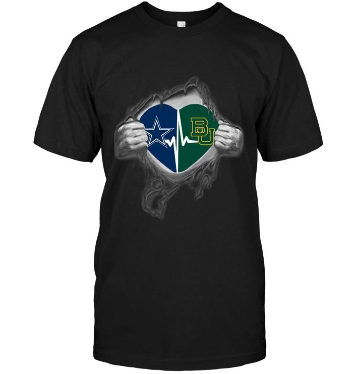 Nfl Dallas Cowboys Baylor Bears Love Heartbeat Ripped Shirt Tshirt Plus Size Up To 5xl