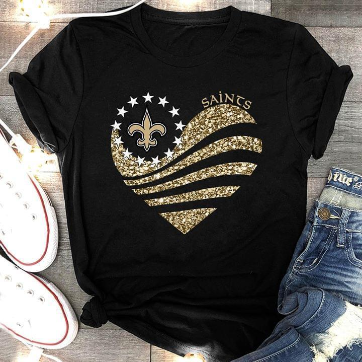 Nfl New Orleans Saints Heart Glitter T Shirt White Sweater Size Up To 5xl